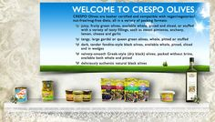 The full range of Crespo olives, from our popular pouches to tins, tapenades to tubs.  You can also find delicious PrimOli extra virgin olive oil. Enjoy the taste of the Mediterranean with us!