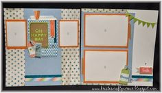 Oh Happy Day_2 page layout_Seaside & Blossom paper_close to my heart_washi word_designer paper bags