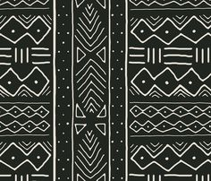 sheets Mudcloth in bone on black fabric by domesticate on Spoonflower - custom fabric