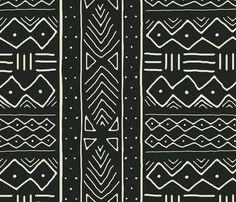 Mudcloth in bone on black fabric by domesticate on Spoonflower - custom fabric