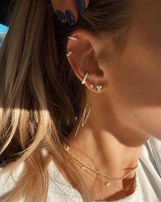 Opal Stud Earrings, Opal Lotus Flower Jewelry, October Birthstone Jewelry, Raw Fire Opal and Silver Flower Jewelry, Uncut Gemstone Studs – Fine Jewelry Ideas – Best Accessories Innenohr Piercing, Cool Ear Piercings, Bellybutton Piercings, Body Piercings, Tiny Stud Earrings, Simple Earrings, Cute Cartilage Earrings, Ear Jewelry, Cute Jewelry