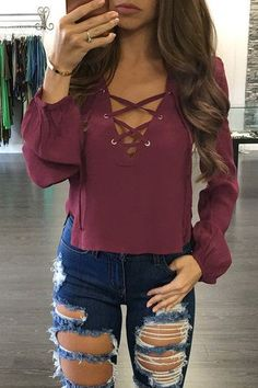 Hipster Fashion: Burgundy V-neck Lace-up Front Design Irregular Hem...
