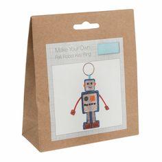 Make Your Own Hanging robot keyring - Kids, boys Crafts Sewing kit Craft Kits For Kids, Crafts For Boys, Make Your Own, Make It Yourself, How To Make, Blue Crafts, Little Presents, Felt Owls, Felt Decorations