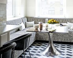 Quadrille San Michelle banquette by Bruce Shostak. Image courtesy of House Beautiful.