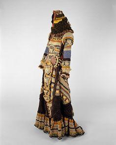 African Mask  Janet Lipkin  Date: 1970 Culture: American Medium: a) wool, leather, wood b-e) wool, leather