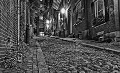Black And White Night Image Of An Old 19th Century Cobble Stone.. Stock Photo, Picture And Royalty Free Image. Image 10595082.