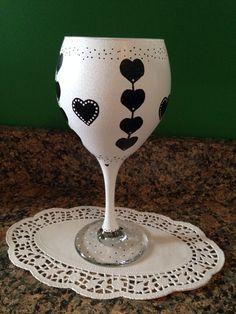 Valentine's Day (hand painted wine glass)