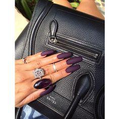 Obsessed with my matte amethyst nails - Vanessa Hudgens - Nails Polish, Matte Nails, Matte Makeup, Dark Acrylic Nails, Aycrlic Nails, Sexy Nails, Prom Nails, Coffin Nails, Vanessa Hudgens