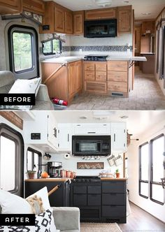 Are you thinking about updating the kitchen in your RV or tiny house? Come see how we made a huge impact in our motorhome with our rustic modern RV kitchen renovation! MountainModernLife.com via @MtnModernLife