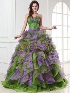 Green & Purple Masquerade Dress