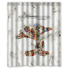 a128c7e4ef4e Walt Disney Dreams Quote White Marble Custom Shower Curtain Size 60x72 and  66x72  Unbranded