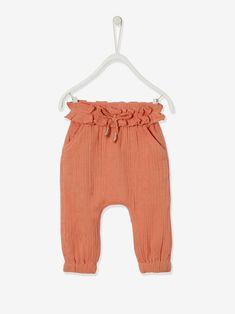 Pantalon taille élastiquée bébé fille - bois de rose+vert céladon - 1
