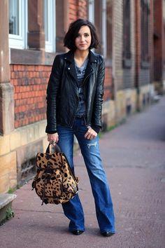 leather jacket + leopard print backpack