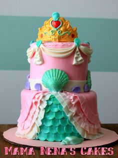 Little Mermaid Cake oh she will just love the crown!