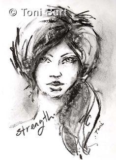 """strength"" loose graphite sketch from my art journal - art journal girl"