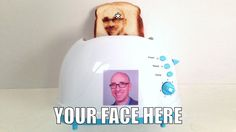 Selfie Toaster An interesting mixture of computer technology and food. Welcome to the Selfie Toaster. Selfies, Selfie Selfie, Selfie Stick, Funny Selfie, Gadgets And Gizmos, Tech Gadgets, Electronics Gadgets, Objet Wtf, Take My Money
