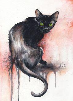 Black cat. Cat watercolors by Braden Duncan