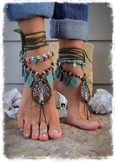 Beaded ANCIENT TREE barefoot jewelry Turquoise Leaf Olive Green foot jewelry crochet sandal Naturalist Garden Wedding Tree Hugger GPyoga