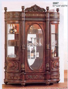 Large Cherry Wood Curio Beautiful Detail Victorian Furniture Unique Home Decor