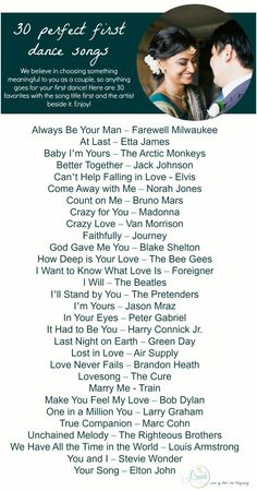 Playlist of 30 songs for a first dance at a wedding! :) First Dance Songs as seen on Hill City Bride Playlist of 30 songs for a first dance at a wedding! :) First Dance Songs as seen on Hill City Bride Wedding Dance Songs, Wedding Playlist, Wedding Music, Wedding Bells, Wedding Song List, Wedding First Dance, Wedding Tips, Wedding Planning, Dream Wedding