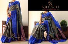 Code KSC 362 : Banaras matka and jute silk mix saree with dull gold zari work on entire body of the saree and with wide blue border.  To place an order/book the saree drop us an email with the relevant code at: Email: kanchi.signature@gmail.com Phone/Whtzap - +91 9880859041