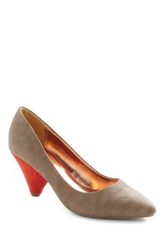 Tan-gerine Heel, #ModClothn Pretty cute. Wedding colors. $30.99. 3 stars for being narrow. Sizes 6-12.