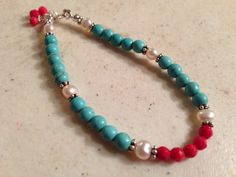 Hey, I found this really awesome Etsy listing at https://www.etsy.com/listing/201015482/turquoise-bracelet-red-white-jewelry