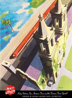 Katy-Line-San-Antonio-Texas-Vintage-U-S-A-Railroad-Travel-Advertisement-Poster