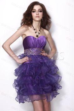 charming purple short ruffle dress