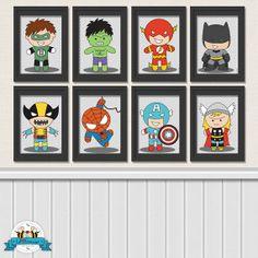 Bundle 8x10  Superhero Digital Art Prints  by LilFacesPrintables, $38.00
