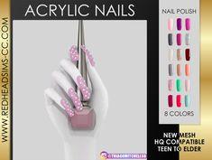 Acrylic nails at redheadsims Sims 4 Nails, Cc Nails, Uv Gel Nails, Acrylic Nails, Coffin Nails, Sims 4 Cc Eyes, Sims Cc, Chalkboard Nails, Victoria Secret Perfume