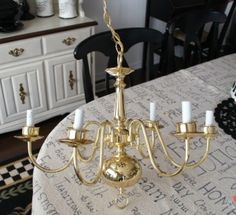 spray painted chandelier