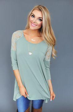 Sage Lace Detail Top - Dottie Couture Boutique