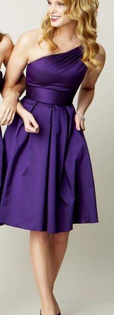 Cheap Simple Purple One Shoulder Sleeveless Short Bridesmaid Dress Satin Corset Knee Length A-line Zipper Elegant Wedding Party Dresses Gown