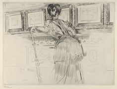 Artist: Paul-César Helleu (French, Vannes 1859–1927). Madame Helleu Looking at the Watteau Drawings in the Louvre, c. 1896. The Metropolitan Museum of Art, New York. The Elisha Whittelsey Collection, The Elisha Whittelsey Fund, 1959 (59.599.1)