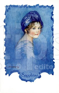 Amy Millicent Sowerby - English (1878-1967) - Sapphire from a set of 6 postcards