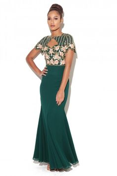 """Embellished Dress Made from a lightweight polyfabricShort sleeve maxi dress, keyhole detailMermaid style skirt Fabric:100 % Polyester Care: Delicate Hand Wash Model is a size 8 and wearing a UK size 8 Model Height: 5""""8, Hannah Dress, HANNAHDRESS"""