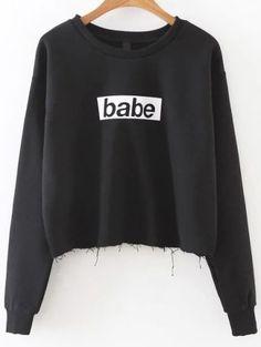 Black Letter Print Frayed Hem Sweatshirt