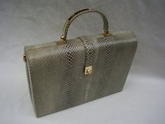 VINTAGE DINELLI HANDBAG. Hot Haute Couture Leather Snakeskin Box Style Handbag. 1980's