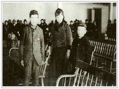 Annie Moore and her two brothers at Ellis Island.