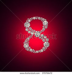 Background to the International Women's Day with the number 8 of the crystals on a red background. Greeting card on March 8.