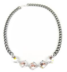 Crystal Statement Necklace swarovski statement jewelry silver GET LUCKY
