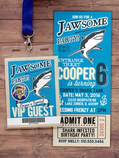Shark invitation  Shark attack birthday invite  by LyonsPrints