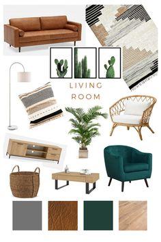 Boho Living Room, Home And Living, Modern Living, Living Room Interior, Living Room Inspiration, Home Decor Inspiration, Design Inspiration, Room Ideias, Deco Design