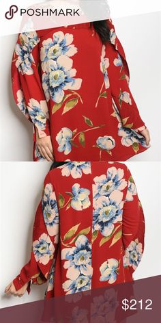PLUS SIZE BURGUNDY FLORAL DRESS New from our Boutique  PLUS SIZE dress featuring a pleated ruffled detail at arms and around neckline, long sleeves and on trend OVERSIZED floral print.  100%polyester . Dresses Mini