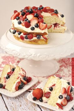 Berry Almond Butter Cake with Lemon Curd Cream Cheese Frosting- aka Strawberry Shortcake