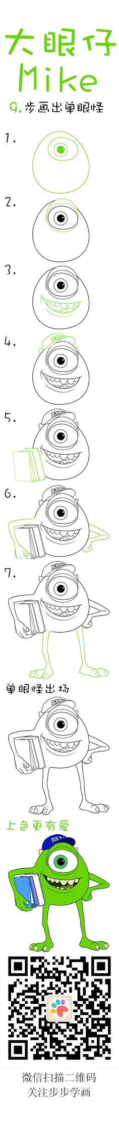 Learn how to draw Michael Wazowski Doodle Drawings, Easy Drawings, Doodle Art, Drawing Sketches, Sketching, Disney Drawings, Cartoon Drawings, Step By Step Drawing, Drawing For Kids