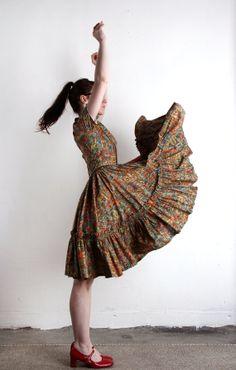 Vintage Folk Frock . Square Dance Dress . Full Skirt by VeraVague, $140.00