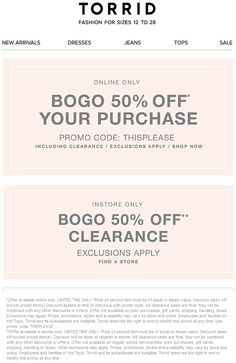 Pinned August 30th: Second clearance item 50% off at #Torrid or any item online via promo code THISPLEASE #coupon via The #Coupons App