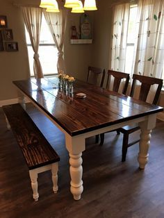 James+James 8 Foot Baluster Table with a traditional, Vintage Kona Stained top and Ivory painted base. Pictured with matching Dianne Bench. Want for kitchen or dining room Farmhouse Table Plans, Farmhouse Dining Room Table, Dining Tables, Modern Farmhouse, Farmhouse Style, Dining Set, Dining Rooms, Small Dining, Rustic Style